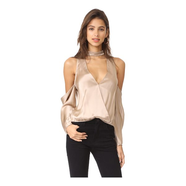 MICHELLE MASON cold shoulder blouse - This lustrous Michelle Mason top is styled with bold...