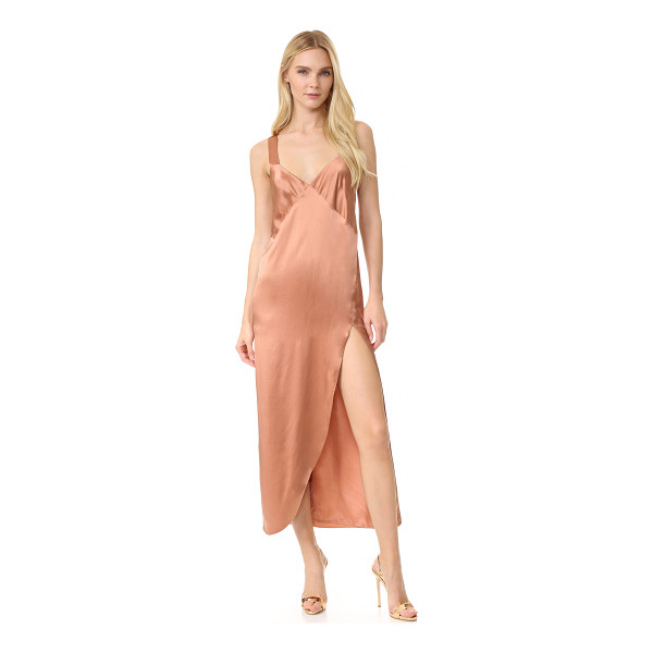 MICHELLE MASON cross back slip maxi dress - An alluring MIchelle Mason slip dress in luxe silk. A deep...