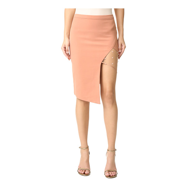 MICHELLE MASON Mesh panel asymmetrical skirt - A sheer, flocked mesh panel adds a flirty touch to this...