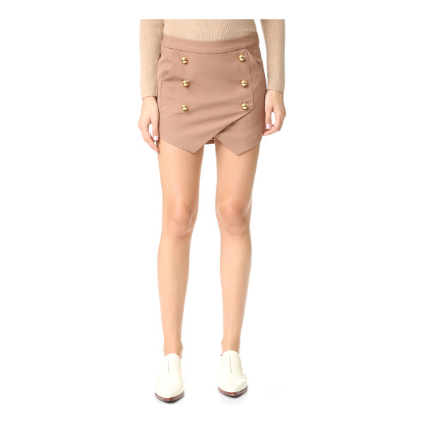 MICHELLE MASON military miniskirt - Polished buttons accent the crossover panels on this...