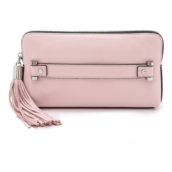 MILLY Astor clutch - A boxy Milly clutch in pebbled leather. A large tassel