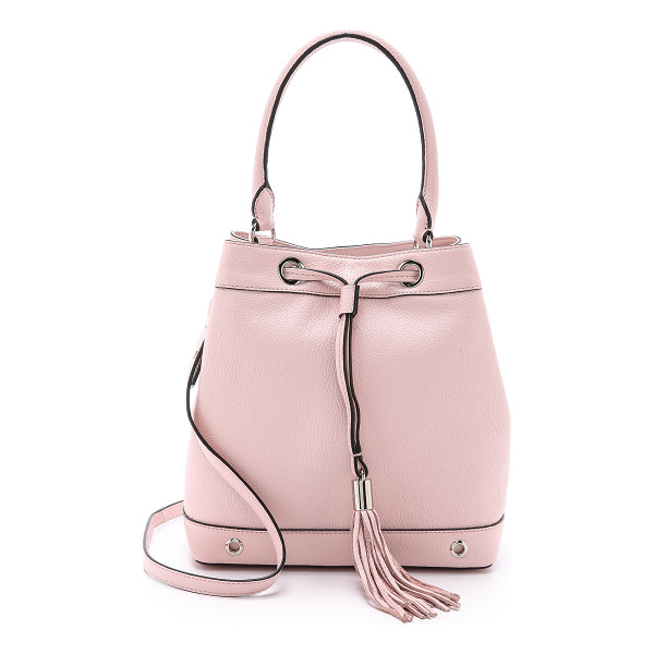 MILLY Astor drawstring bucket bag - Polished hardware adds a sophisticated feel to this pebbled