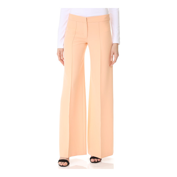MILLY cady flare pants - Vertical pintucks elongate the look of these wide-leg Milly...