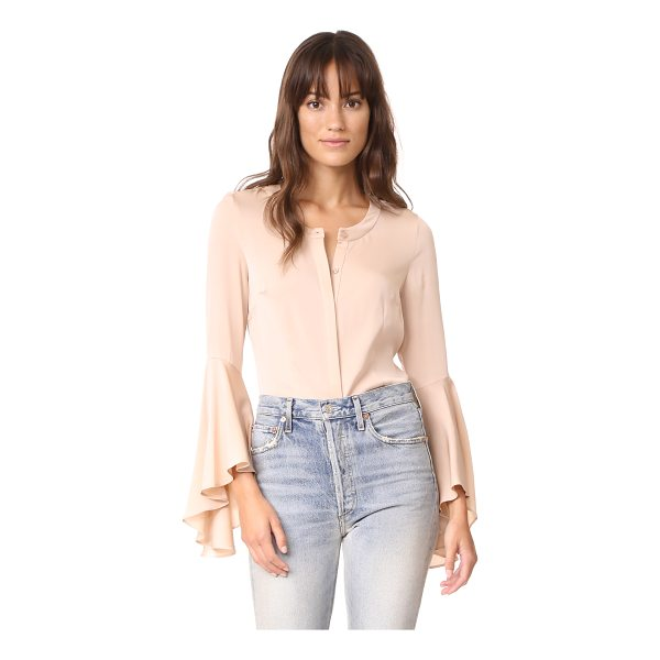MILLY michelle silk blouse - Dramatic, flared cuffs add a bold element to this elegant...