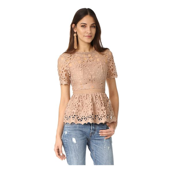 MINISTRY OF STYLE lush lace top - A soft peplum flares from the nipped waist on this guipure...