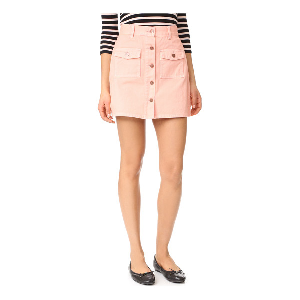 MINKPINK sugar rusy safari denim skirt - A denim MINKPINK skirt in a stylish, pastel wash. Button...