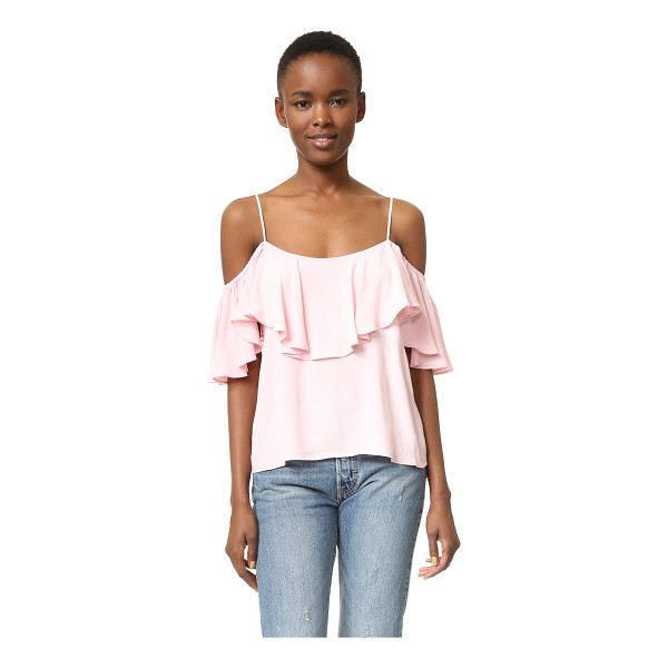 MISA Marina top - Flutter sleeves and a draped flounce complement the flirty...
