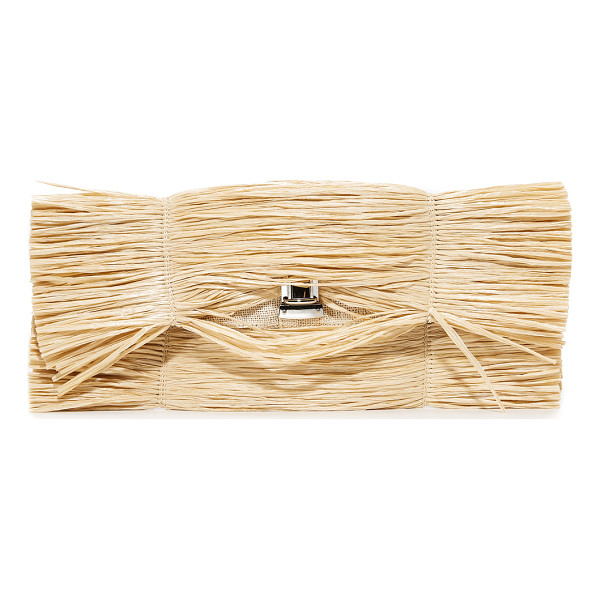 MM6 straw clutch - Voluminous straw fringe covers this MM6 clutch, bringing a