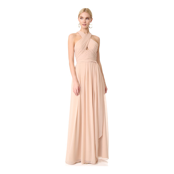MONIQUE LHUILLIER BRIDESMAIDS halter gown with cutout - NOTE: Runs true to size. Pleats create a ripple effect on...