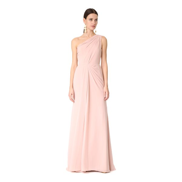 MONIQUE LHUILLIER BRIDESMAIDS one shoulder drape gown - A graceful Monique Lhuillier Bridesmaids gown with an...