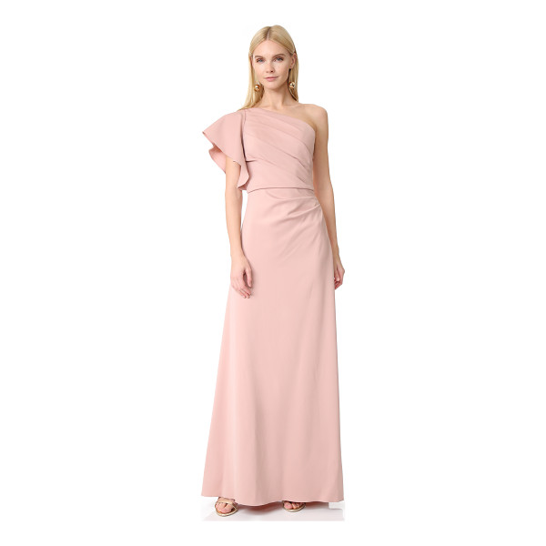 MONIQUE LHUILLIER BRIDESMAIDS one shoulder gown - NOTE: Runs true to size. A shirred bodice and single...