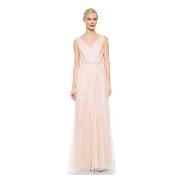 MONIQUE LHUILLIER BRIDESMAIDS shirred multi tone v neck gown - Filmy, sheer mesh layers compose this ethereal Monique...
