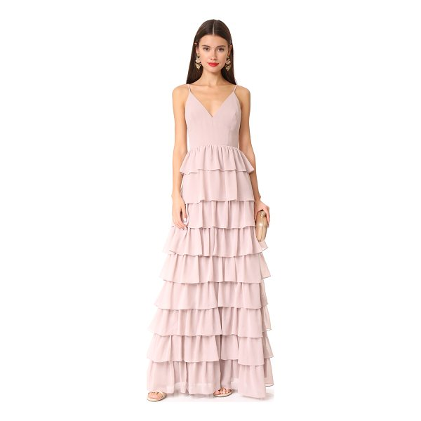 MONIQUE LHUILLIER BRIDESMAIDS tiered dress - Tiered ruffles add volume to the skirt of this Monique...