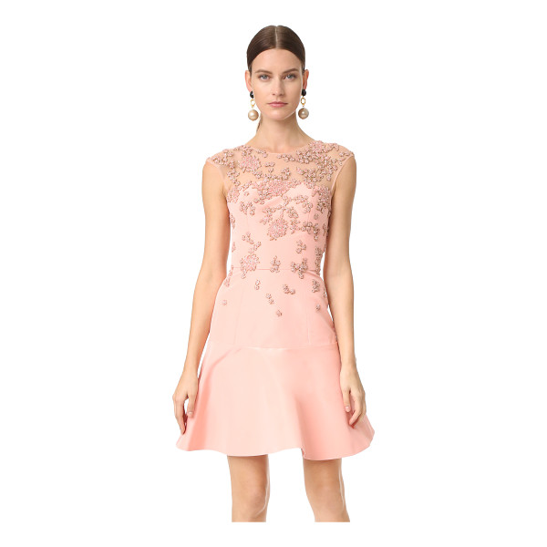 MONIQUE LHUILLIER BRIDESMAIDS cap sleeve illusion dress with embroidery - Rich faille composes this charming Monique Lhuillier dress,...