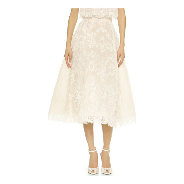 MONIQUE LHUILLIER BRIDESMAIDS charlotte tea length skirt - This delicate, crisp lace Monique Lhuilier skirt cuts an...