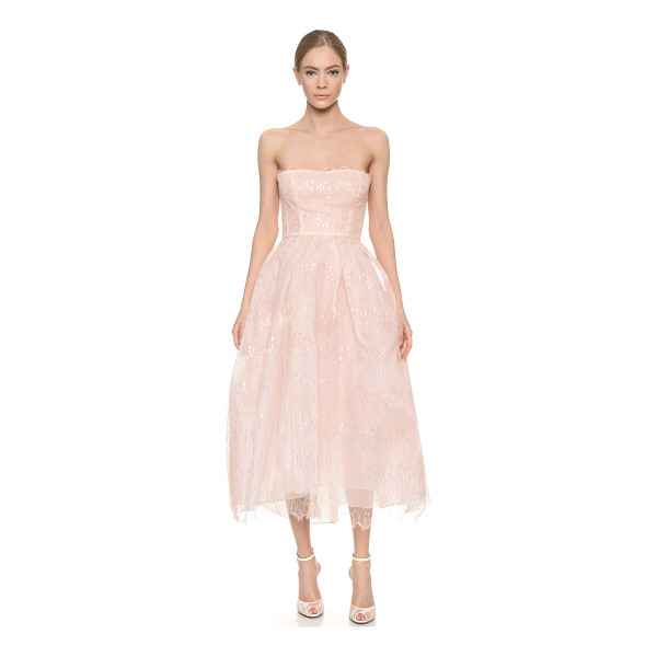 MONIQUE LHUILLIER BRIDESMAIDS Iridescent lace strapless dress - Shimmering, iridescent lace lends ethereal charm to this...