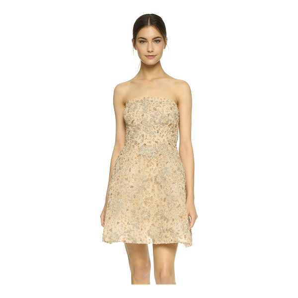 MONIQUE LHUILLIER BRIDESMAIDS Structured strapless dress - Sparkling beadwork and metallic embroidered flowers lend a...