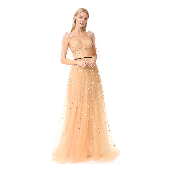 MONIQUE LHUILLIER BRIDESMAIDS v neck tulle gown - A sprinkling of metallic, heart-shaped paillettes brings a...