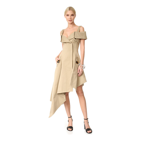 MONSE off the shoulder dress - A trench-inspired Monse dress with draped, asymmetrical...