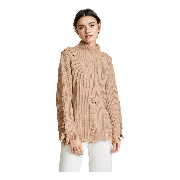 MOON RIVER fray sweater - This ribbed knit Moon River turtleneck sweater is detailed...