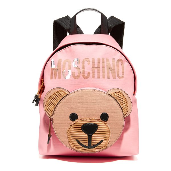 MOSCHINO bear backpack - A bear graphic adds a playful touch to this textured...