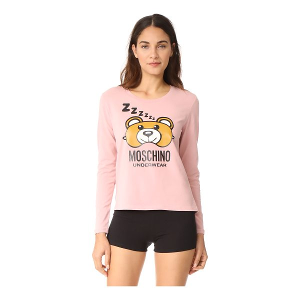 MOSCHINO long sleeve t-shirt - A bear-shaped eyemask and 'Mochino Underwear' lettering...