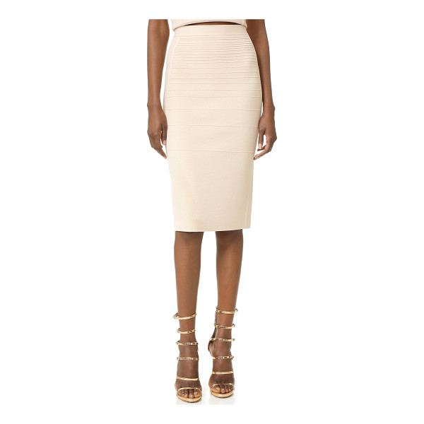 NARCISO RODRIGUEZ Knit Pencil Skirt - Raised stitches create a tonal stripe effect on this figure...