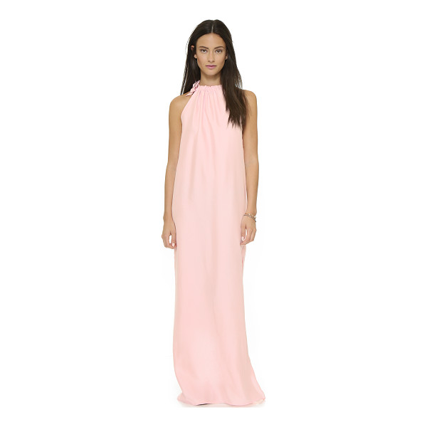 NATALIE DEAYALA Gathered high neck gown - This Natalie Deayala maxi dress has a high slit for a...