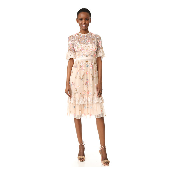 NEEDLE & THREAD ditsy scatter dress - Metallic sequins and beads form an intricate floral...