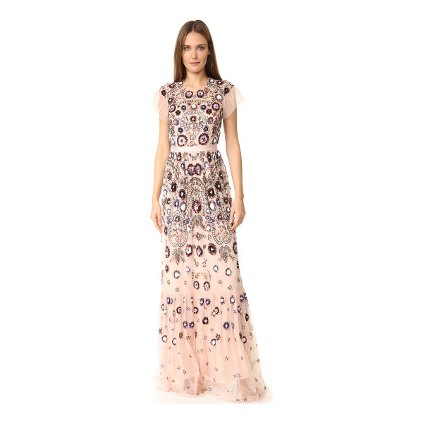 NEEDLE & THREAD Enchanted lace maxi dress - Allover beading creates elaborate floral designs on this...