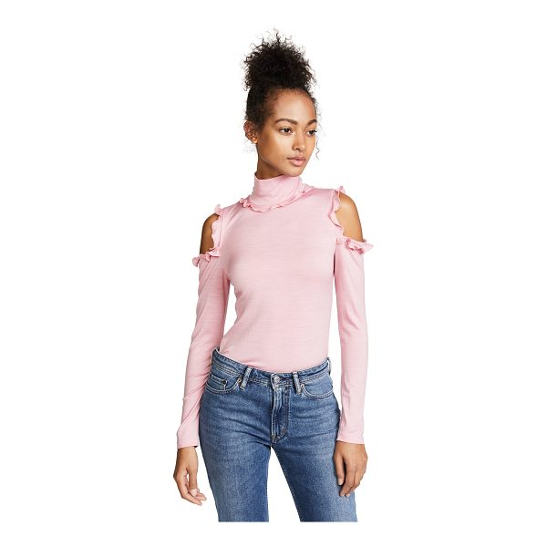 NICHOLAS cold shoulder turtleneck - Ruffles trim the turtleneck and shoulder cutouts on this...