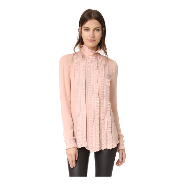 NICHOLAS fine pleat blouse - Pleated contrast trim brings a romantic look to this silk...