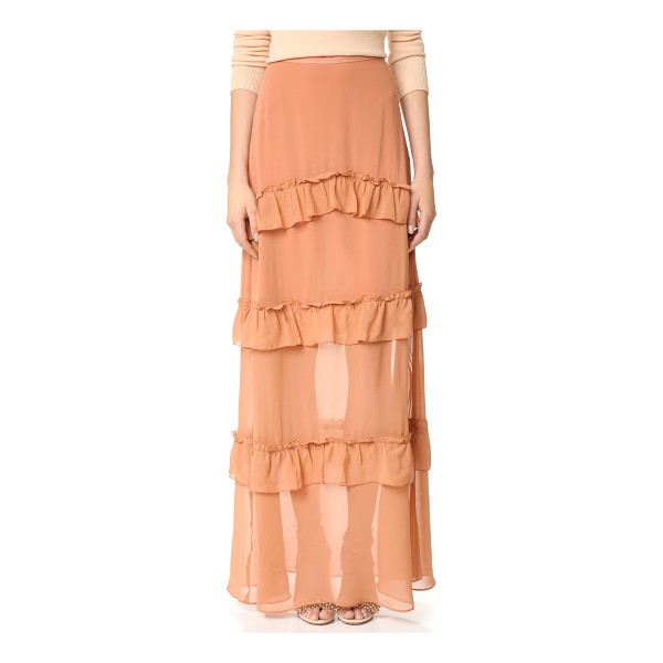 NICHOLAS georgette tiered skirt - Gathered ruffles add a feminine touch to this graceful silk...
