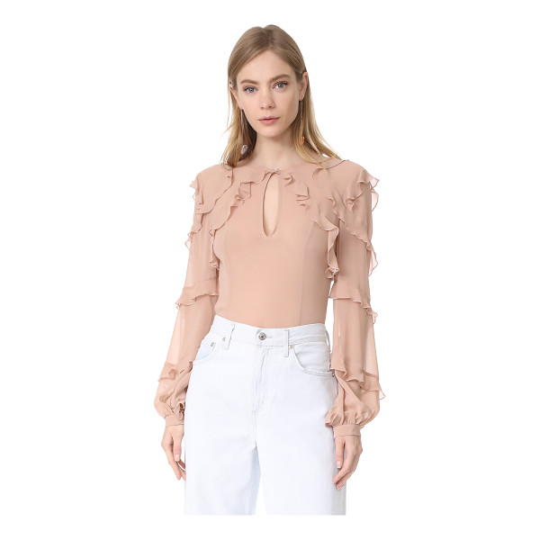 NICHOLAS silk georgette high neck ruffle blouse - Dainty ruffles accentuate the airy, feminine feel of this...