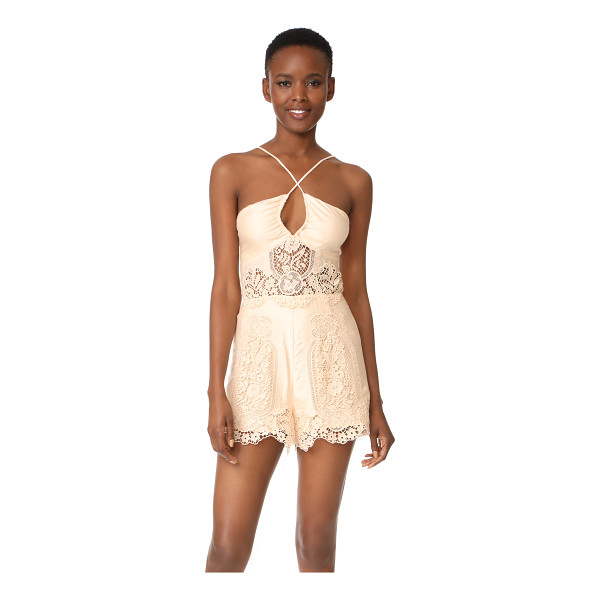 NIGHTCAP X CARISA RENE cheeky romper - Tonal lace insets add romantic detail to this lightweight...