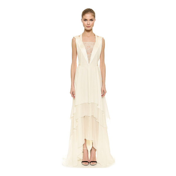 NINA RICCI Lace inset gown - A lace inset offers a sheer peek of skin at the front of...
