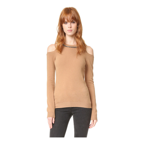 NO. 21 Crystal Neck Sweater - This soft, elegant No. 21 sweater is trimmed with festive,...