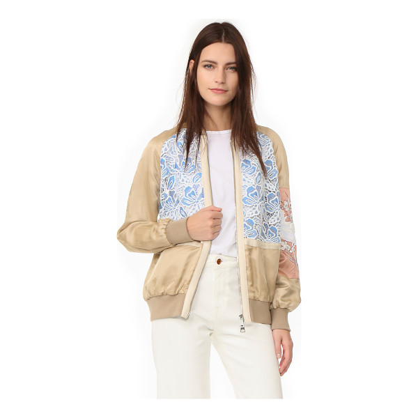 NO. 21 sports jacket - A mix of lace and satin panels lends a feminine feel to...