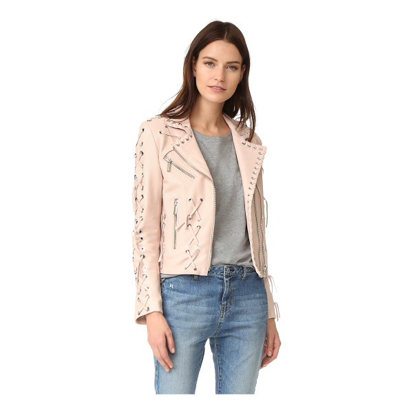 NOUR HAMMOUR wilshire motorcycle jacket with studs - Whipstitched trim adds modern edge to this soft leather...
