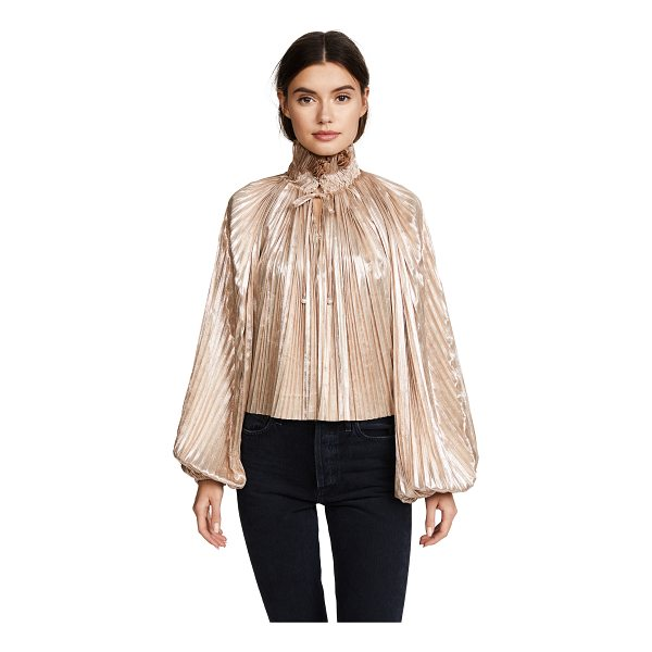 OPENING CEREMONY foil pleated bishop sleeve top - Fabric: Lamé Elastic cuffs Gathered pleats Pullover style...
