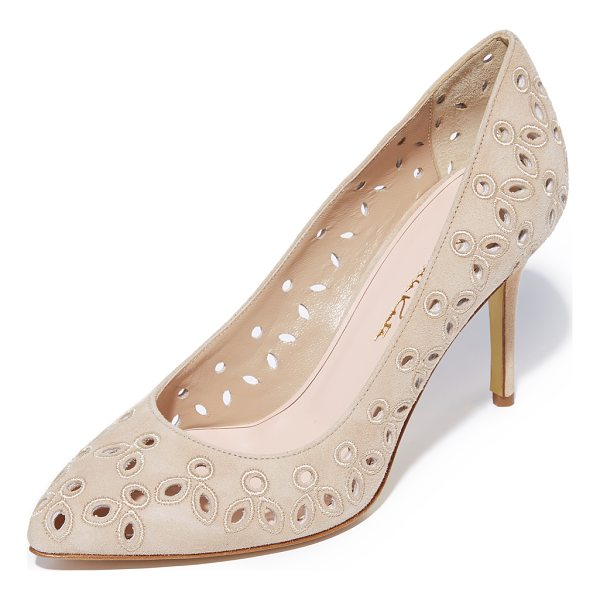 OSCAR DE LA RENTA anna heels - Eyelet embroidery adds a charming touch to these suede...