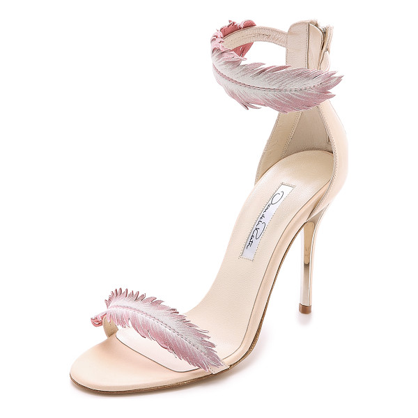 OSCAR DE LA RENTA Aubree heeled sandals - A light wash of color accents the delicate leather feather...
