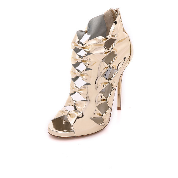 OSCAR DE LA RENTA Talina peep toe sandals - Flashing mirrored leather puts a striking finish on these...