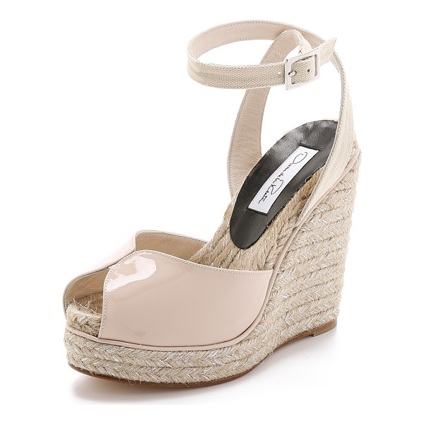 OSCAR DE LA RENTA Violet wedges - Twinkling metallic threads detail the braided raffia trim...
