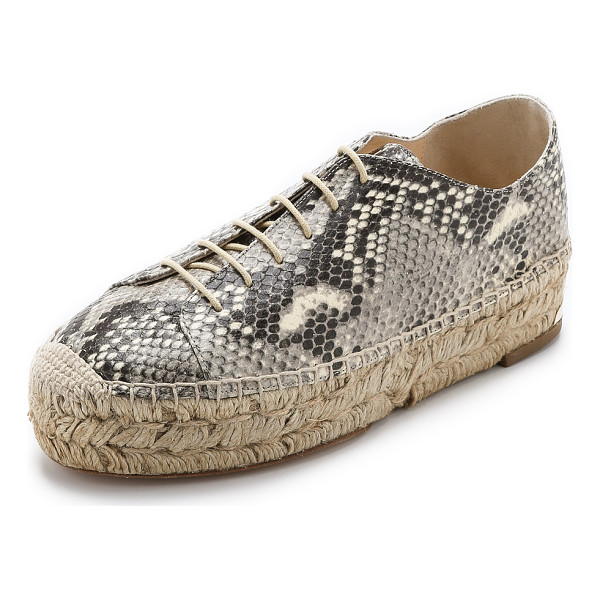 PALOMA BARCELO Platform espadrille sneakers - Embossed, snake print leather brings a bold look to these...
