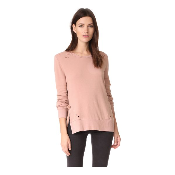 PAM & GELA side slit sweatshirt - A faded wash and shredded holes add a well-worn look to...