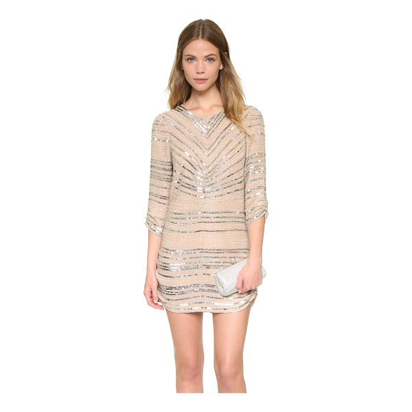 PARKER Black petra dress - This Parker shift dress is covered with metallic beads and...