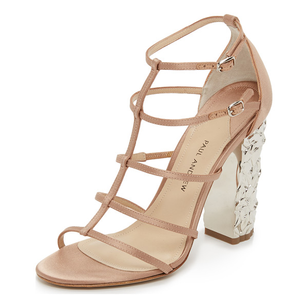 PAUL ANDREW Oralie sandals - A lacquered heel with floral detailing gives a stunning...