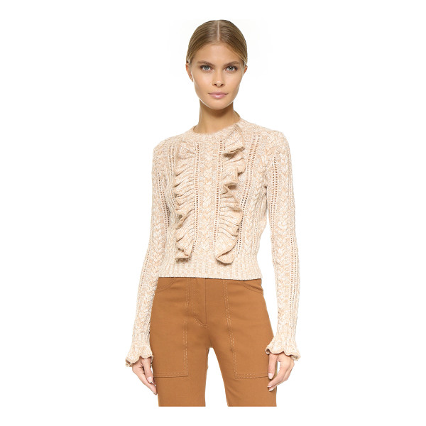 PHILOSOPHY DI LORENZO SERAFINI Long sleeve sweater - Cascading ruffle spill down the front of this formfitting,...