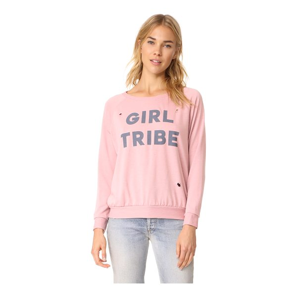 PRINCE PETER girl tribe distressed pullover top - Worn spots lend a favorite-shirt feel to this Prince Peter...